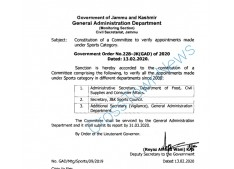 Constitution of a Committee to verify appointments made under Sports Category in J&K