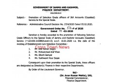 Promotion of Selection Grade to Special Grade in J&K Accounts(Gazetted) Services
