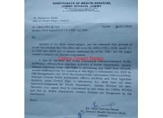 Health Dept J&K fails to Act on RTI; Reply in a funny way