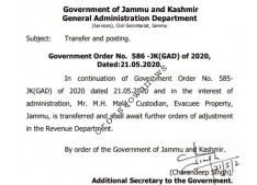 JK Govt posts one KAS Officer, other nowhere?