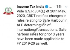 Income Tax Department notifies changes in rules relating to safe harbour