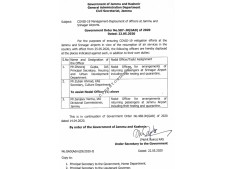 COVID-19 Management-Deployment of officers at Jammu & Srinagar Airports