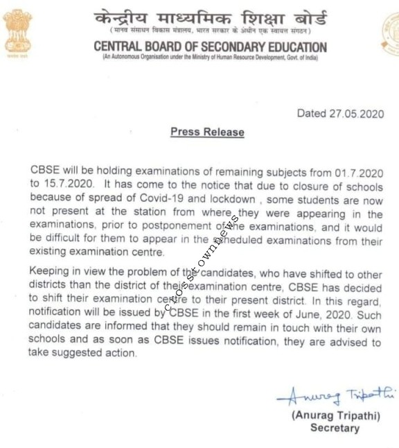 CBSE to hold remaining Exams from July, 01 to 15
