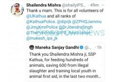 Maneka Gandhi appreciates SSP Kathua Shailendra Mishra
