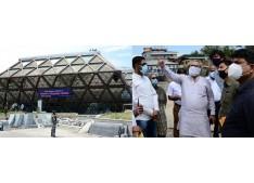 Advisor Farooq Khan takes stock of renovation works at Bakhshi Stadium, Indoor Stadium