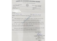 Again interesting reply by J&K Housing Board's KAS Officer