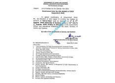 Holiday on account of Eid on 31st July stand cancelled in J&K; To be observed on 1st & 2nd August