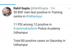 80 Positive cases in Udhampur on Saturday ; 50 BSF men, 12 from J&K Police Academy Udhampur