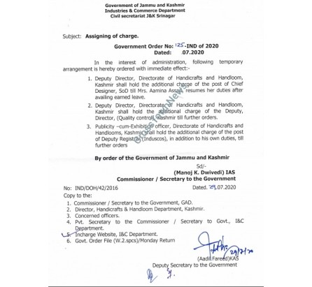 Assigning  the charge of the posts of Dy Director/Dy Registrar