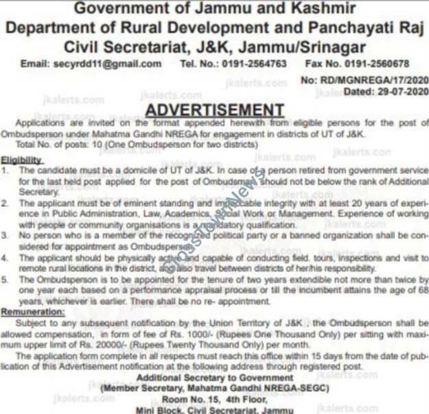 J&K Govt issues notification for engagement of  10 Ombudsperson in RD&PR