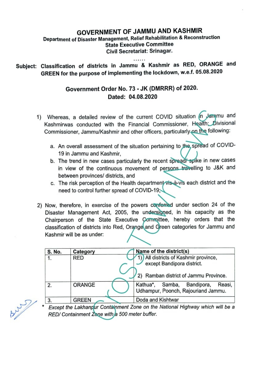 J&K Govt issues list of Red,Orange & Green Zone districts