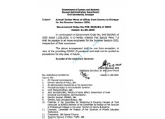 Annual Darbar Move of Offices from Jammu to Srinagar for Summer Season, 2020: Special Move TA