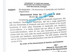 Re designation/Re Structuring of Handicrafs & Handloom Departments