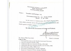J&K Govt orders transfers and postings of Police Officers; Rajesh posted as SSP Samba