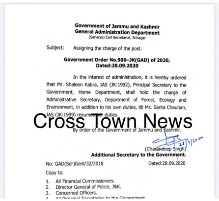 Shaleen Kabra to hold additional charge of Forest dept J&K