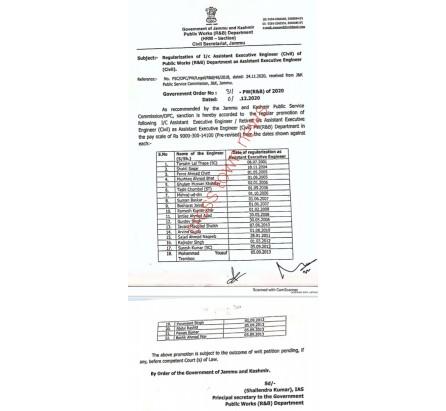 Regularization of I/C Assistant Ex Engineers as Assistant Ex Engineers