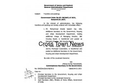 J&K Govt orders transfers and postings of  KAS Officers ; Shahid Saleem posted as MD Housing; Ashish Additional Secretary Housing