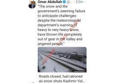 Omar Abdullah questions Govt's failure over snow clearance despite MET's warning