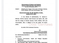 JK Govt assigns charge of DG FW