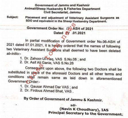 Placement/adjustments of Veterinary Assistant Surgeons as SDO & equivalent