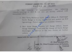 Transfers and Postings of Range Officers