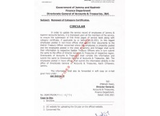 J&K Accounts dept issues orders for Renewal of Category Certificates