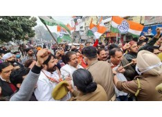 Congress leaders stage protest against Property tax in J&K,rising petrol prices