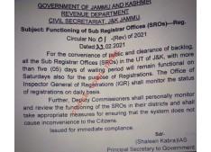 JK Govt issues instructions for functioning of Sub Registrar Office