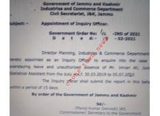 Appointment of Inquiry Officer to enquire unauthorized absence of officer