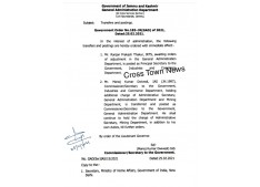 J&K Govt orders transfers and postings of  IRTS/IAS Officers