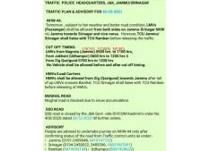 Traffic advisory for March 30 in J&K