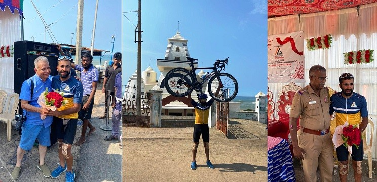 Kashmiri cyclist Adil creates History; Covers 3,600 Kms Kashmir-Kanyakumari distance in 8 days recorded time