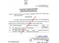 J&K Govt issues Retirement Notification in favour of Xen/AEEs