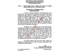 Annual Darbar Move J&K: Instruction issued