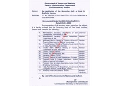 Reconstitution of Governing Body of Food Craft Institute J&K