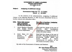 J&K Govt issues orders for assigning of additional charge of FA/CAOs