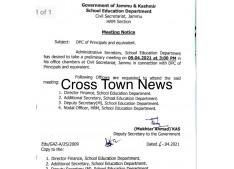 J&K : Meeting on  DPC of Principals/Equivalent