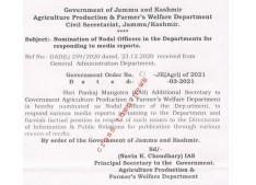 J&K Govt appoints Nodal Officers for responding to Media reports