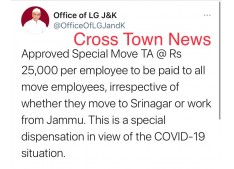 Special Move TA for all Move Employees in J&K : LG