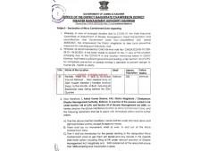 Declaration of Micro Containment Zone-regarding