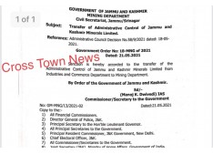 Transfer of Administrative Control of Jammu and Kashmir Minerals Limited