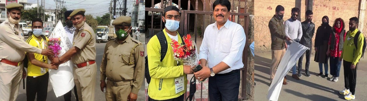 Srinagar youth completes 950 KMs Srinagar-Delhi marathon run in 7 days