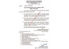 J&K Govt orders transfers and postings of Private Secretaries
