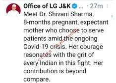LG Manoj Sinha appreciates 8 months pregnant Doctor for serving people