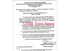 School, Colleges & Universities to remain closed in J&K till 30th June