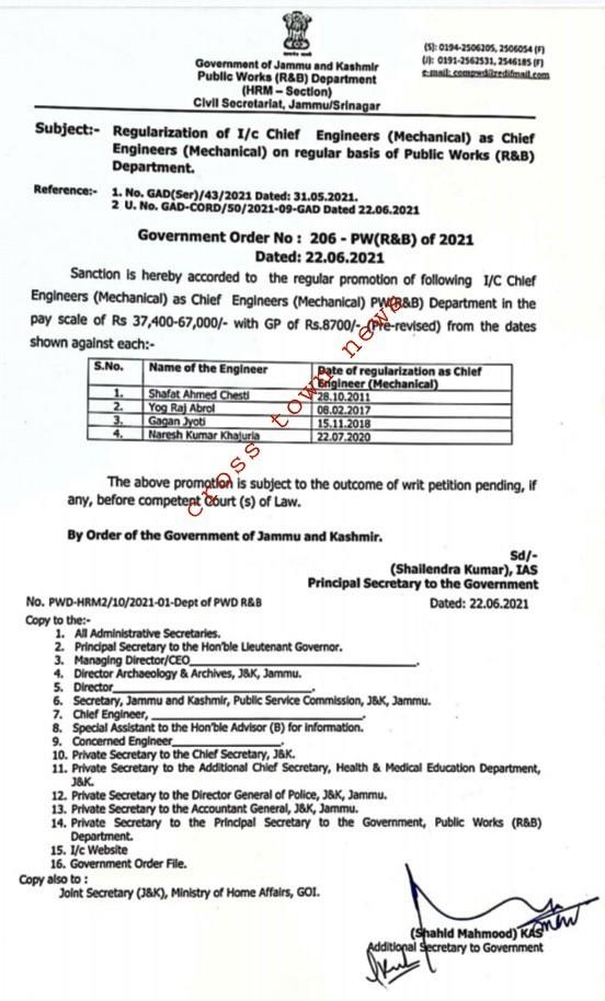 Regularization of 4 Chief Engineers in J&K