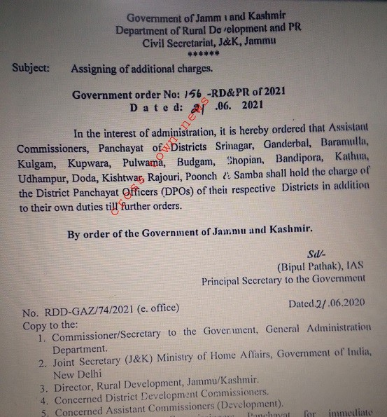 Assigning of additional charge of 16 DPOs to ACPs in J&K