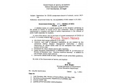 J&K Govt issues new guidelines for Covid measures & restrictions in Schools