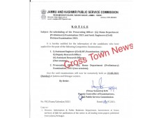 Rescheduling of various Exams of  JKPSC