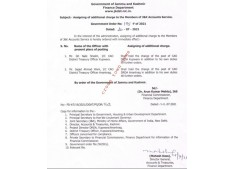 Assigning of additional charge to Members of JK Accounts Services